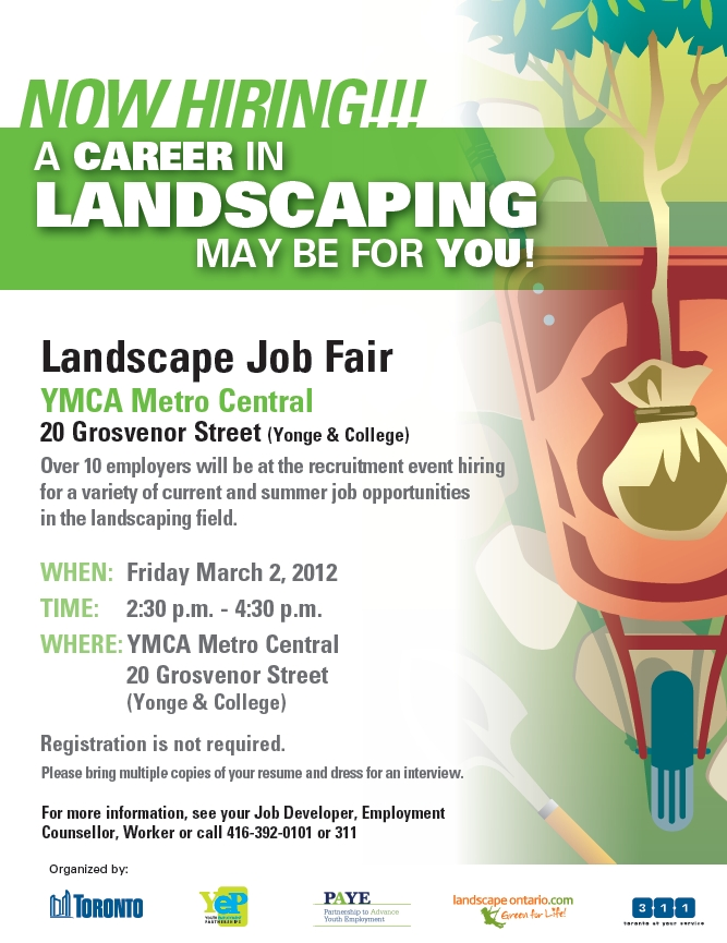 Landscaping job fair march 2 ysnwebelong for Gardening jobs for march